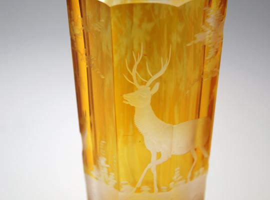 装飾ガラス「鹿文様ゴブレット」