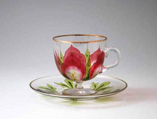 「花文様 ガラスカップ&ソーサー」