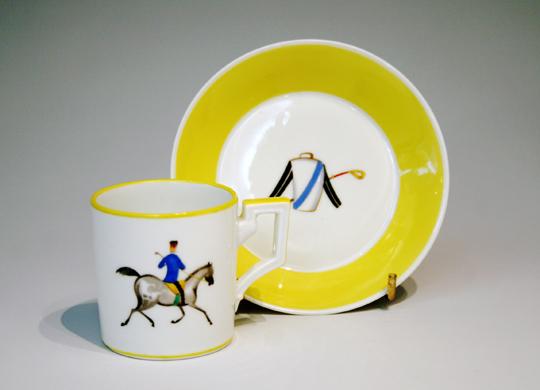 陶磁器「乗馬文様コーヒーカップ b」