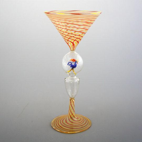 装飾ガラス「青いにわとりフィギュア入りグラス」