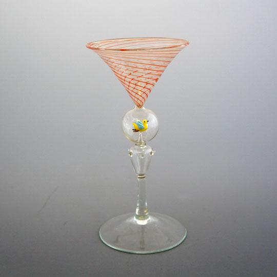 装飾ガラス「小鳥のフィギュア入りグラス」