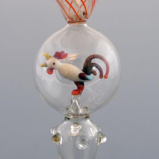 装飾ガラス「にわとりフィギュア入りグラス」