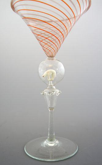 装飾ガラス「白くまフィギュア入りグラス」