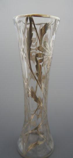 グラスウェア「シルバーオーバレイ 花柄花瓶」