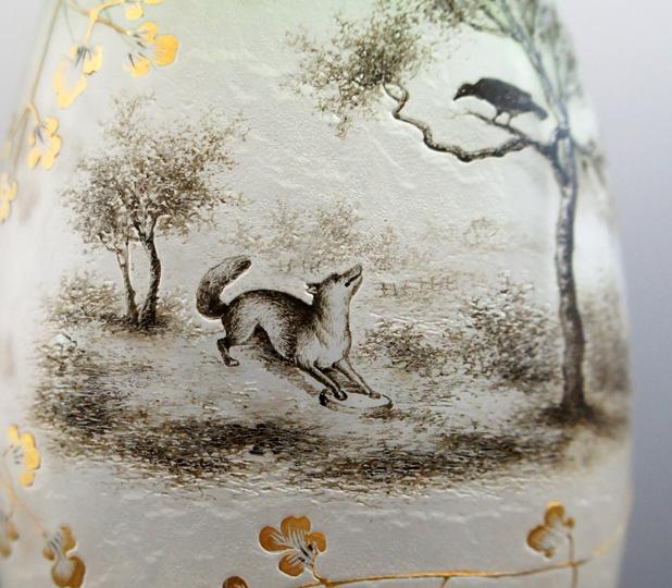 アールヌーヴォー「イソップ寓話文花瓶」