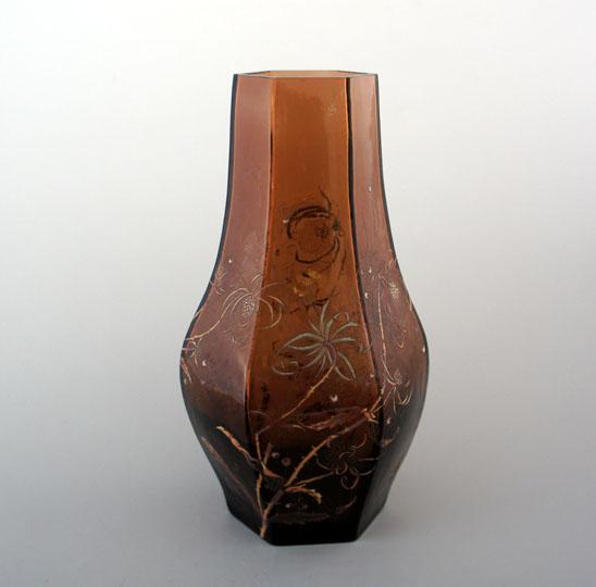 アールヌーヴォー「アザミ文様 角形花瓶」