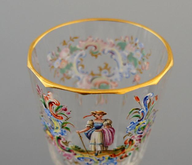 装飾ガラス「エナメル彩ワイングラス」