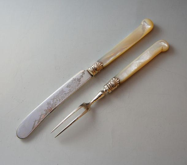 シルバー「マザーオブパール デザートナイフ&フォーク 5セット」