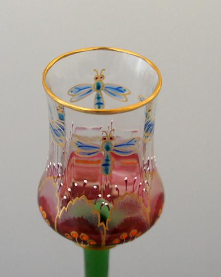 装飾ガラス「花と虫文様リキュールグラス」