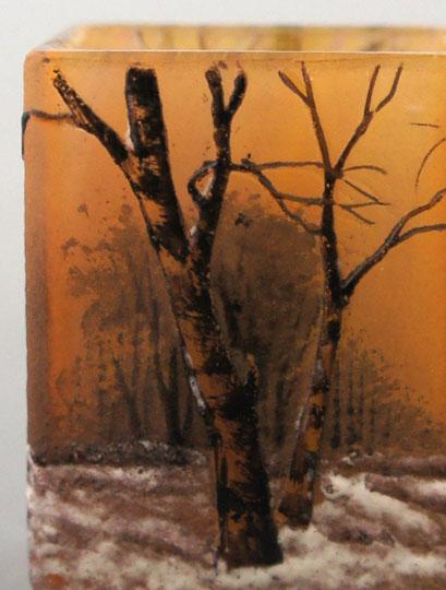 アールヌーヴォー「冬景色文ミニチュア花瓶」