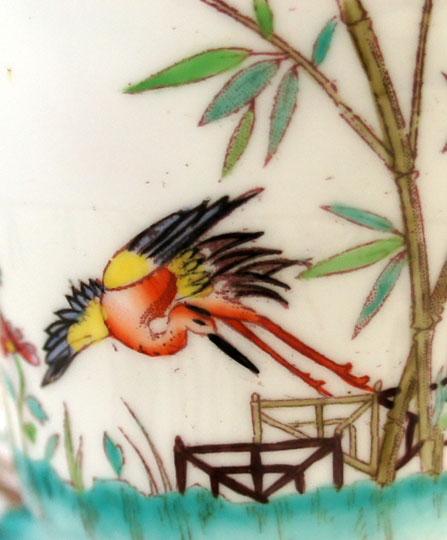 陶磁器「花鳥文カップ&ソーサー」