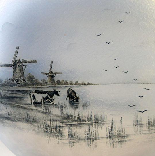 アールヌーヴォー「オランダ景色 扁壺型花瓶」