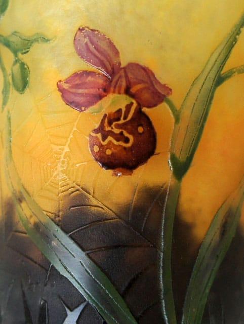 アールヌーヴォー「蘭に蜘蛛の巣文香水瓶」