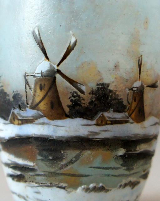 アールヌーヴォー「オランダ雪景色 リキュールグラス」