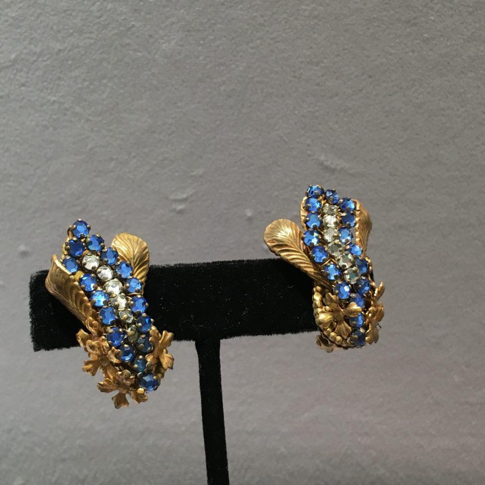コスチュームジュエリー「ブルー・ゴールド E/Nセット」