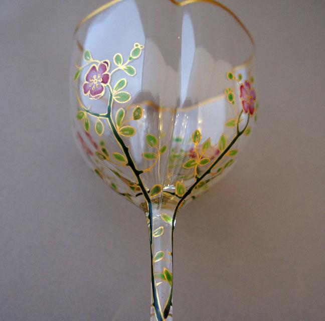 装飾ガラス「イバラ装飾 ワイングラス」