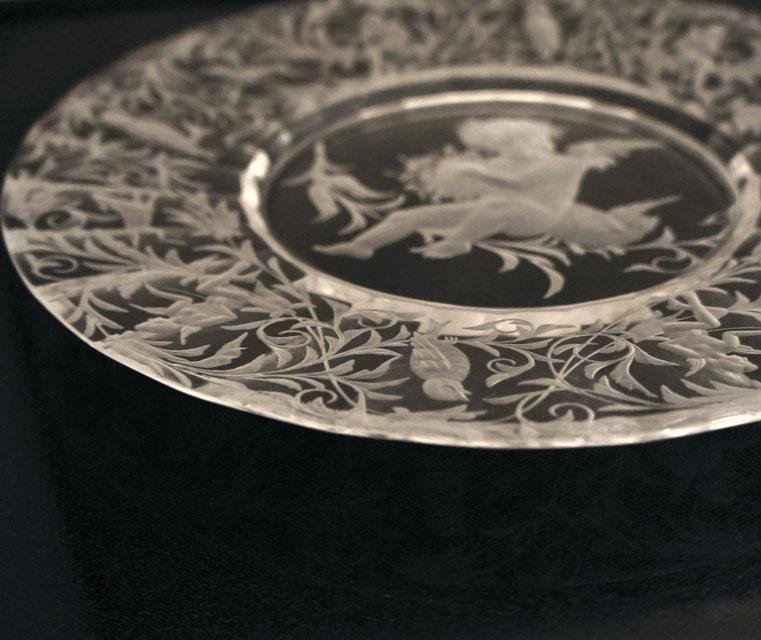 装飾ガラス「天使文 皿」