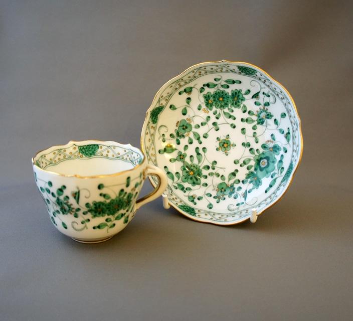 陶磁器「カップ&ソーサー「インドの華(グリーン)」」