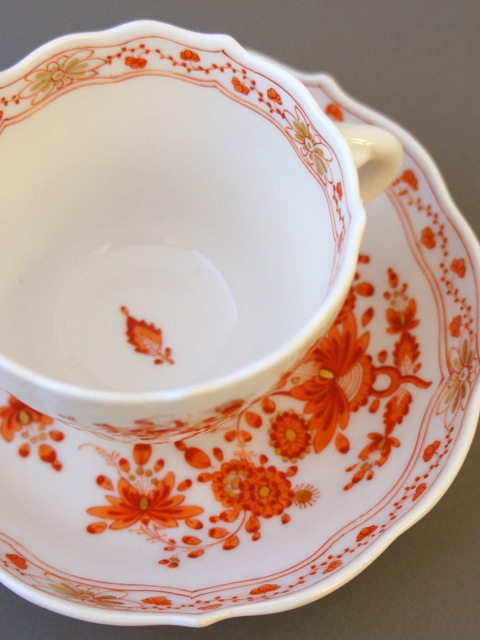 陶磁器「カップ&ソーサー「インドの華(オレンジ)」」