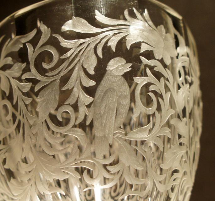 グラスウェア「人物と犬 ワイングラス」