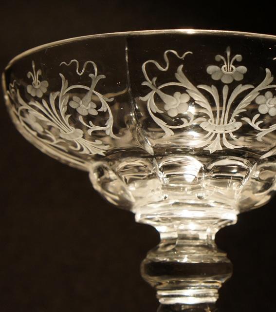 装飾ガラス「花文様 クープグラス」