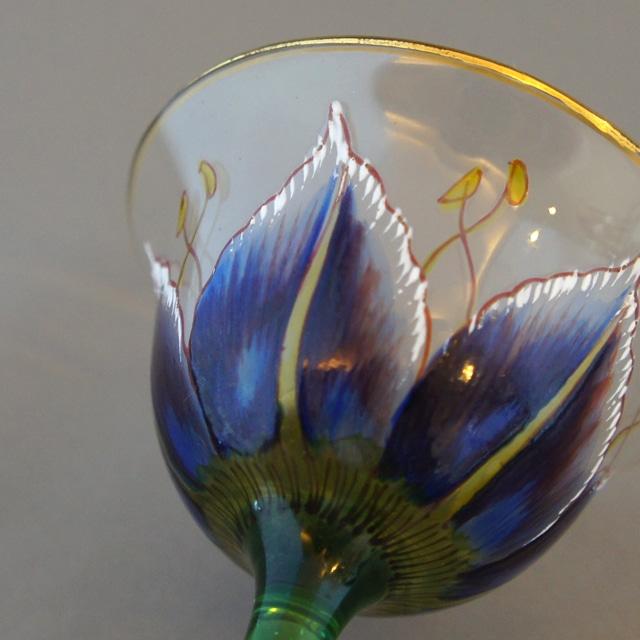 装飾ガラス「青花文様 リキュールグラス」