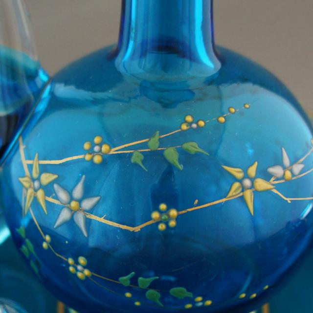 グラスウェア「青色ガラス 草花文 リキュールセット」