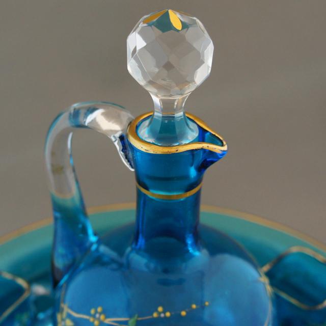装飾ガラス「青色ガラス 草花文 リキュールセット」