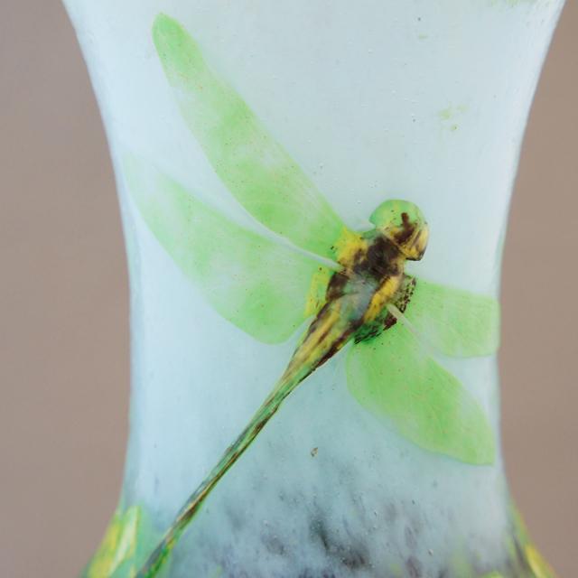 アールヌーヴォー「蓮池に蜻蛉文 花瓶」