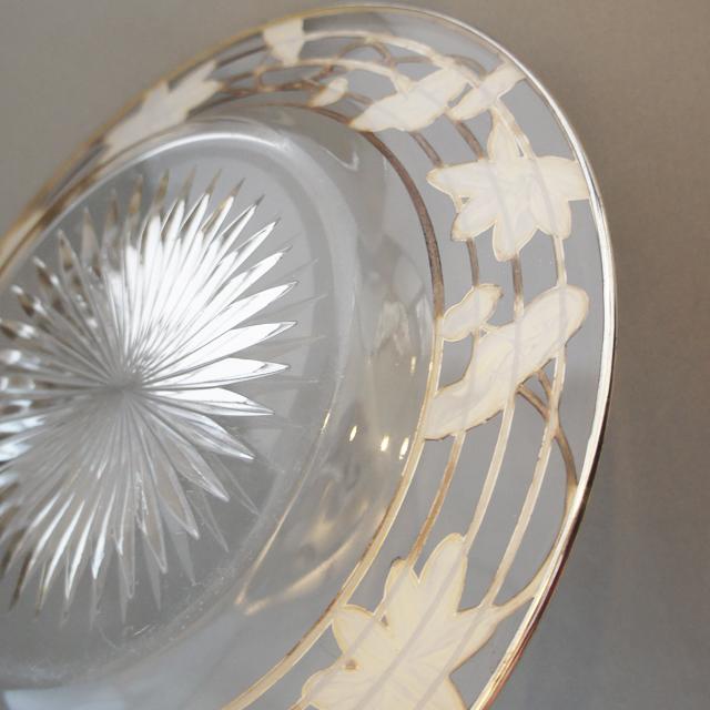 グラスウェア「銀装飾 蓮文様 皿」