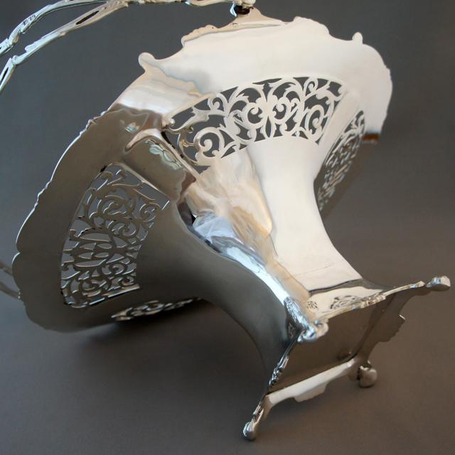 シルバー「透かし彫り装飾 ハンドル付 コンポート」