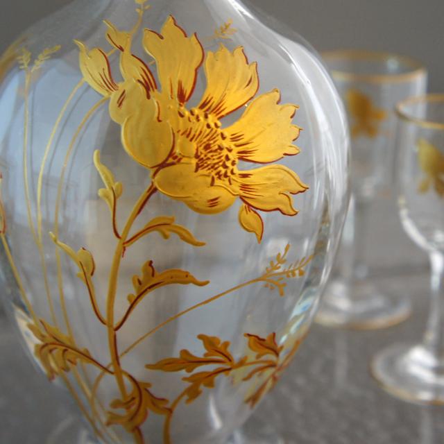 グラスウェア「金彩 花文様 リキュールセット」