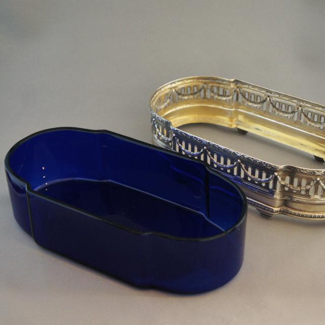 シルバー「ピュイホルカ 青色ガラス 鉢」