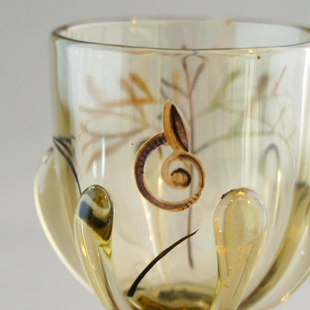 アールヌーヴォー「水草に魚文 リキュールグラス」