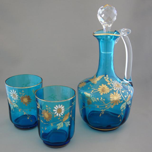 グラスウェア「青色ガラス 花鳥文 ナイトセット」