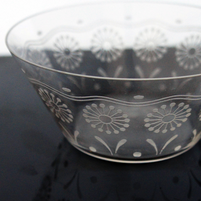 グラスウェア「花文様 小鉢」
