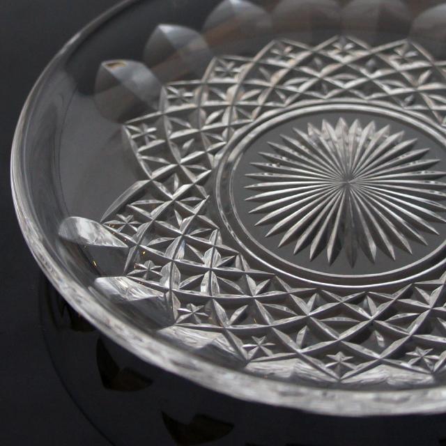 グラスウェア「ハンドル付 カット 小皿ペアセット 直径13.2cm」
