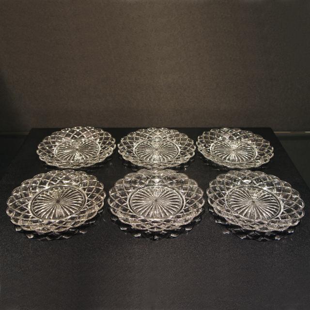 グラスウェア「プレス成型 皿6枚セット 直径17cm」