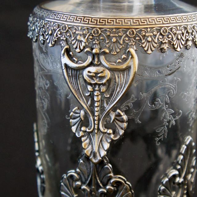 グラスウェア「銀装飾 リキュールボトル」