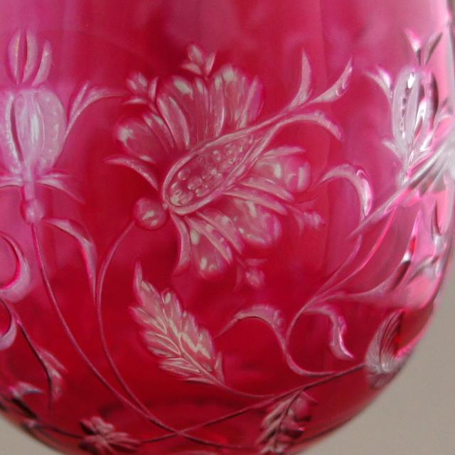 グラスウェア「鳳凰文 赤被せガラス ワイングラス」