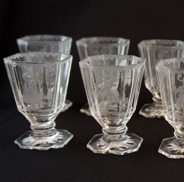 グラスウェア「人物文 カット装飾 リキュールグラス」