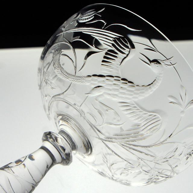 グラスウェア「鳳凰文 グラヴィール装飾 クープ 高さ11.5cm」