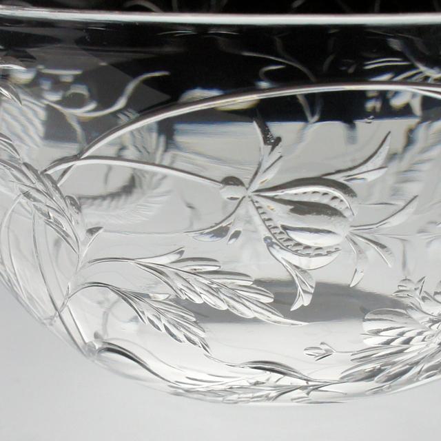 グラスウェア「鳳凰文 グラヴィール装飾 小鉢 直径13cm」