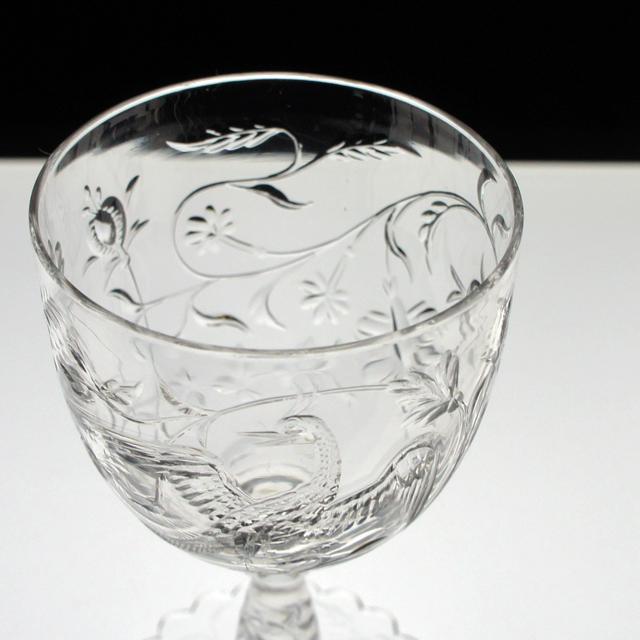 装飾ガラス「鳳凰文 グラヴィール装飾 グラス 高さ10.2cm」