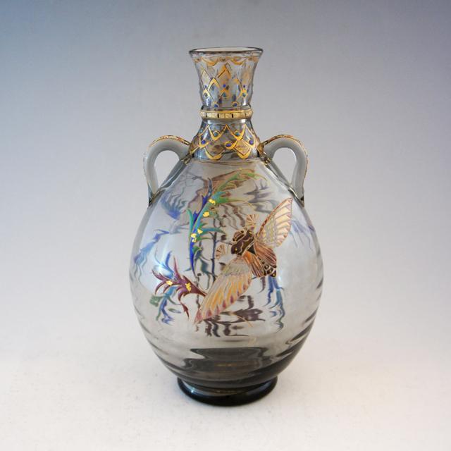 アールヌーヴォー「昆虫と草花文 花瓶」