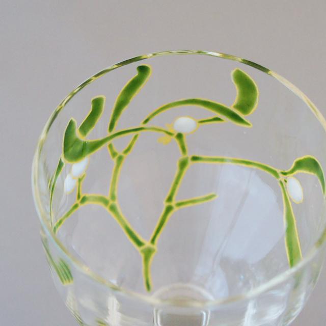 グラスウェア「宿り木文 ワイングラス(小)①」