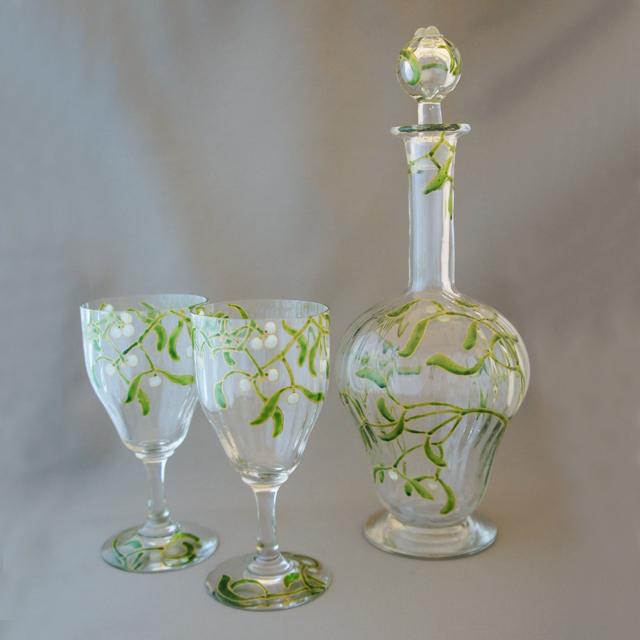 グラスウェア「宿り木文 デカンタ&ワイングラス(大)2客セット」