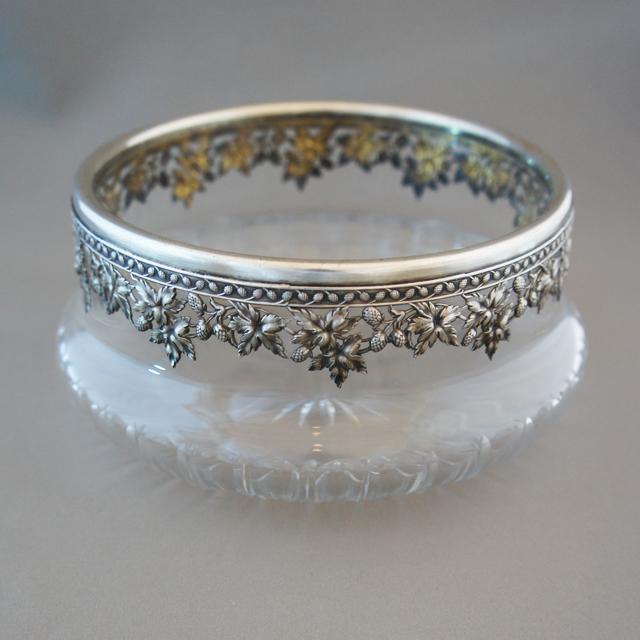 シルバー「銀装飾 ガラス鉢」