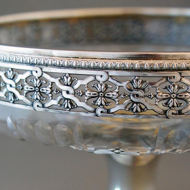 シルバー「銀装飾 ガラス コンポート」