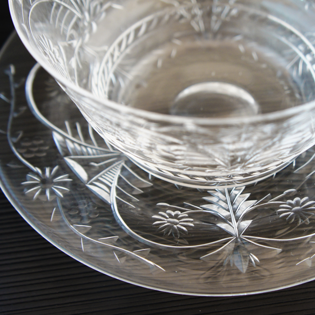 グラスウェア「カット文様 鉢&皿セット」